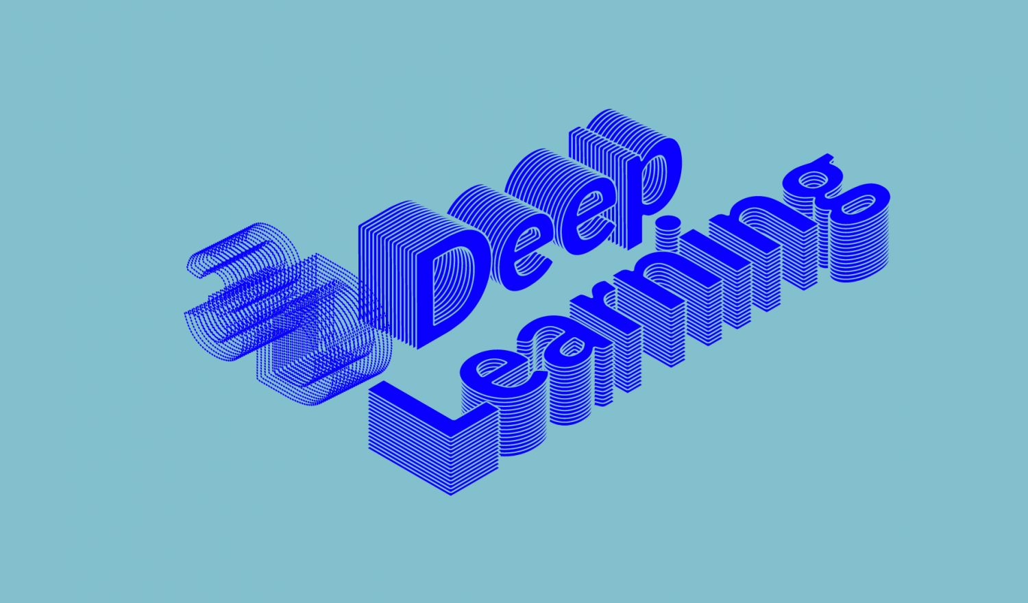 3D Deep. Learning set in a 3D font