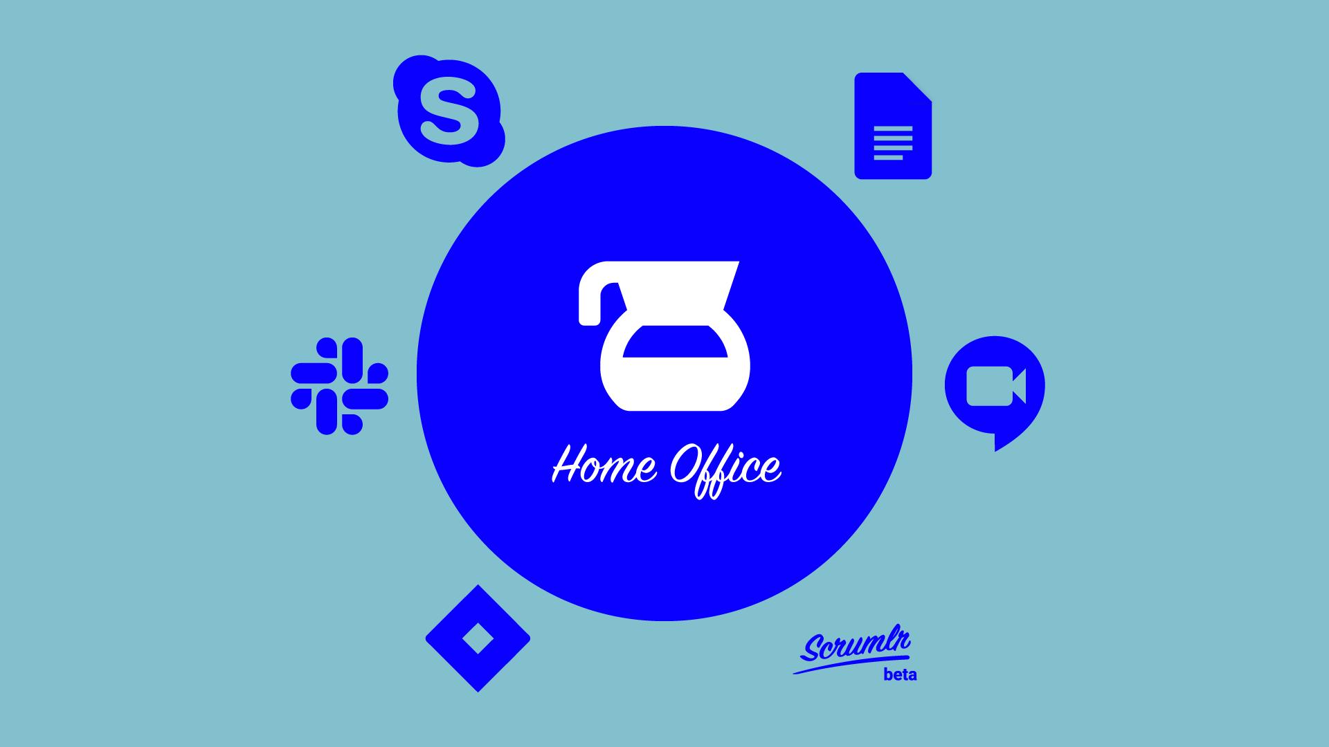6 Tool Icons reihen sich um den Titel Home Office