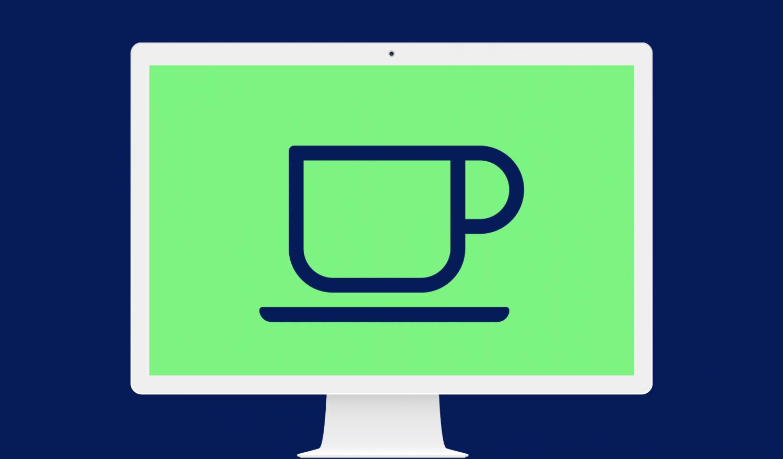 Ein Bildschirm mit einer Kaffeetasse symbolisiert den virtuellen Kaffeeautomaten