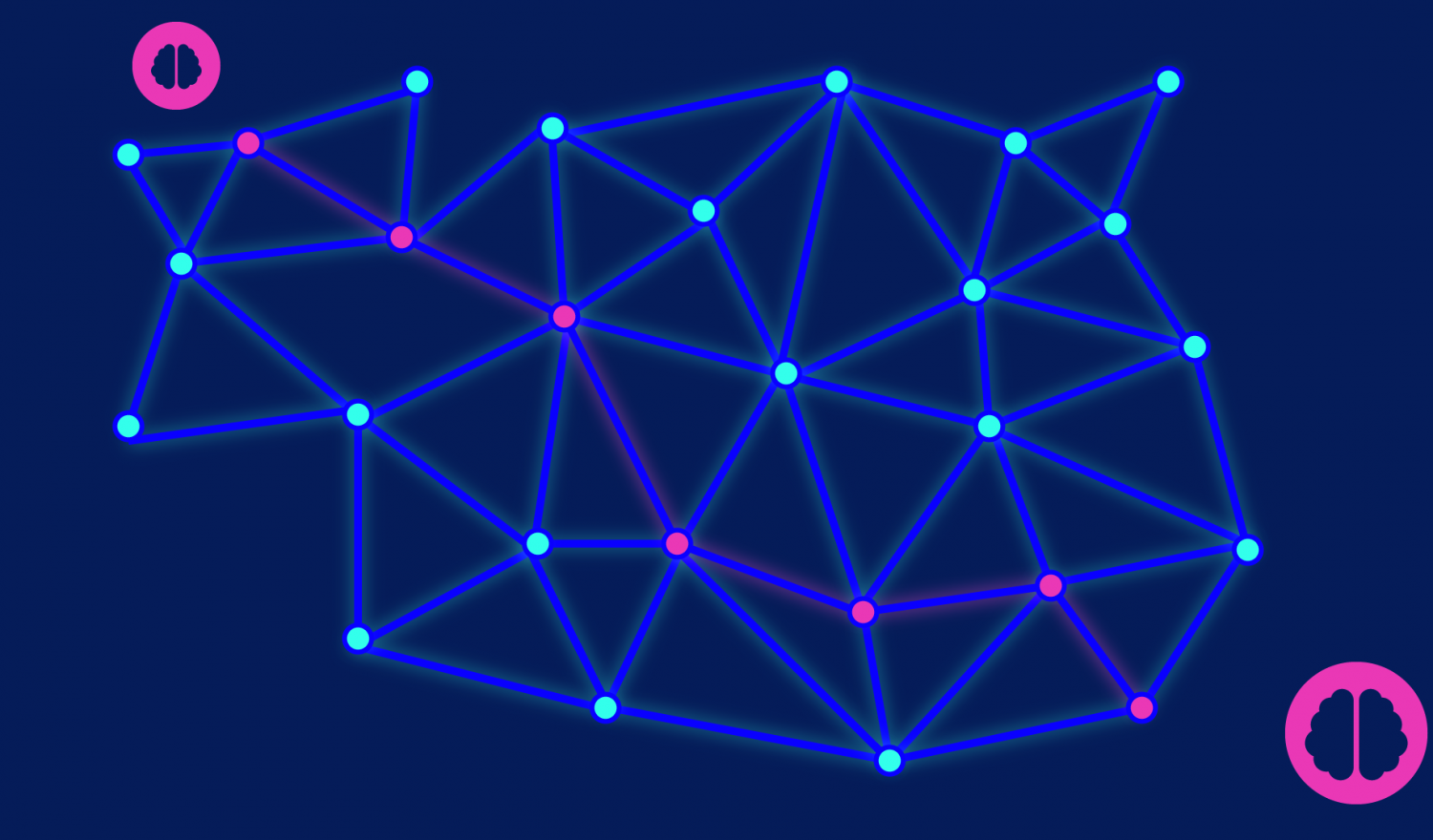A highlighted route through a stylized software defined network