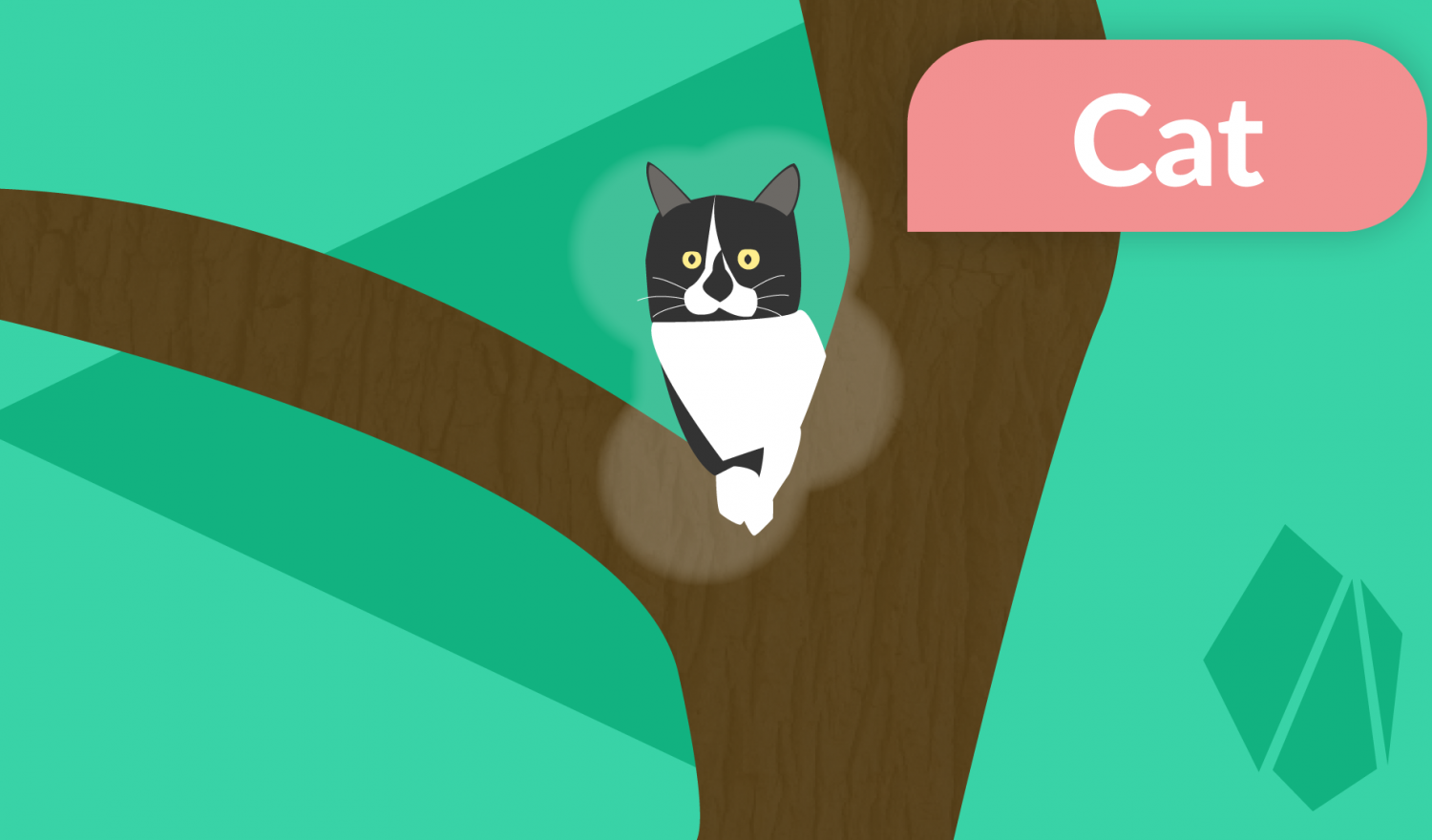 A cat sitting in a tree with a stylized image captioning