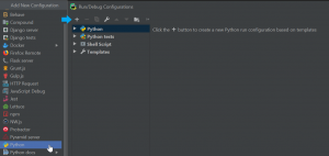 Select Plus Sign on the Python template