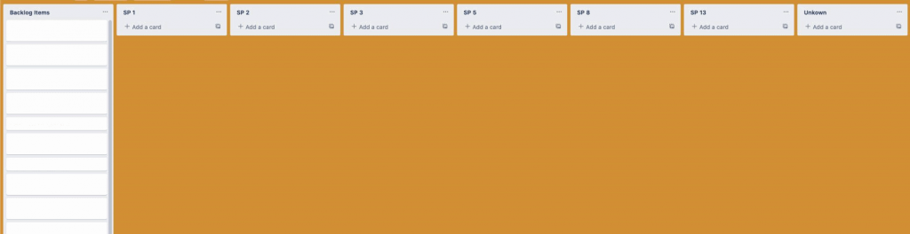 A Trello board with lots of Backlog items.