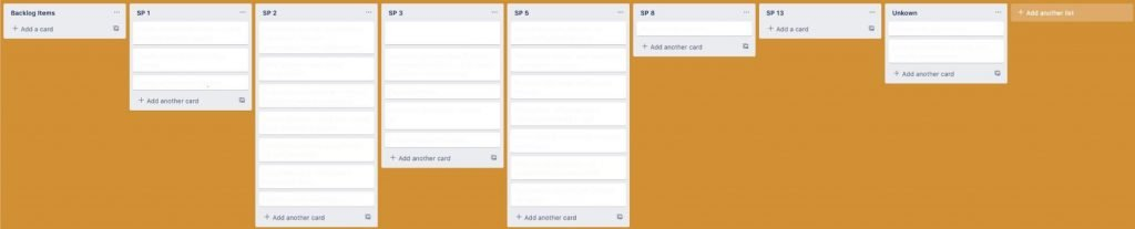 A Trello board with differently filled columns.