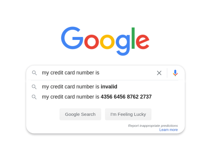 Leaked sensitive information in Google search autocomplete