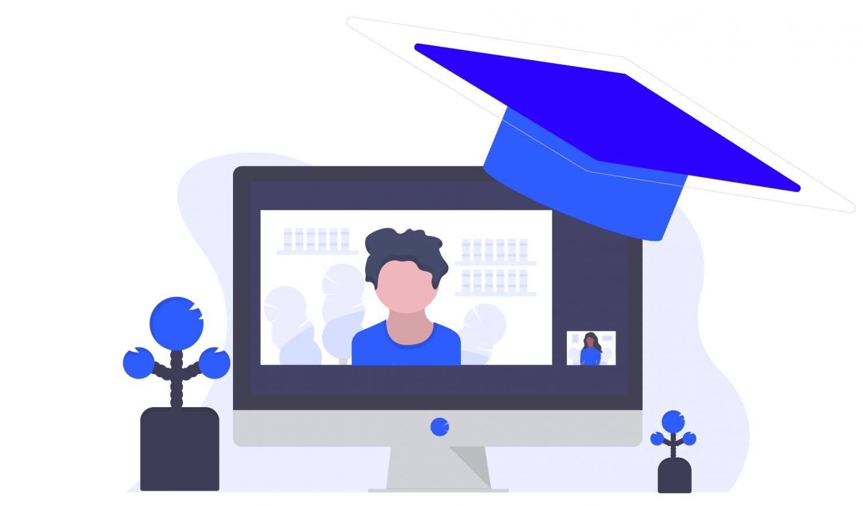 Eine Akademikermütze hängt auf dem Bildschirm: Remote Teaching!