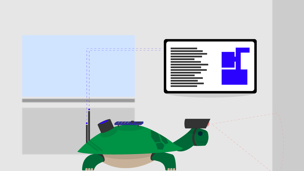 A turtlebot outfitted with a camera system sends data