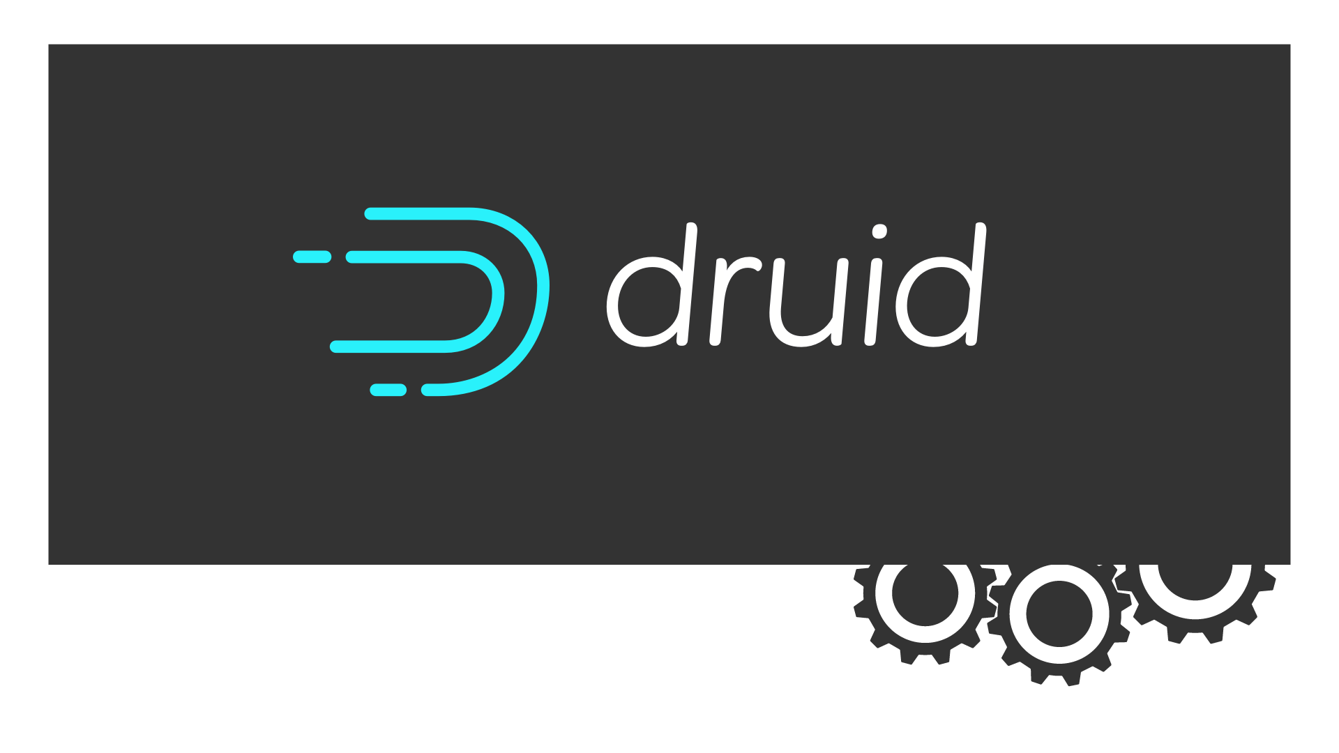 Apache Druid Logo on dark grey with some gears
