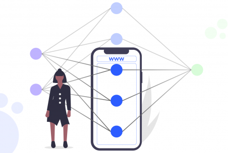 A neural network partly framed by a smartphone