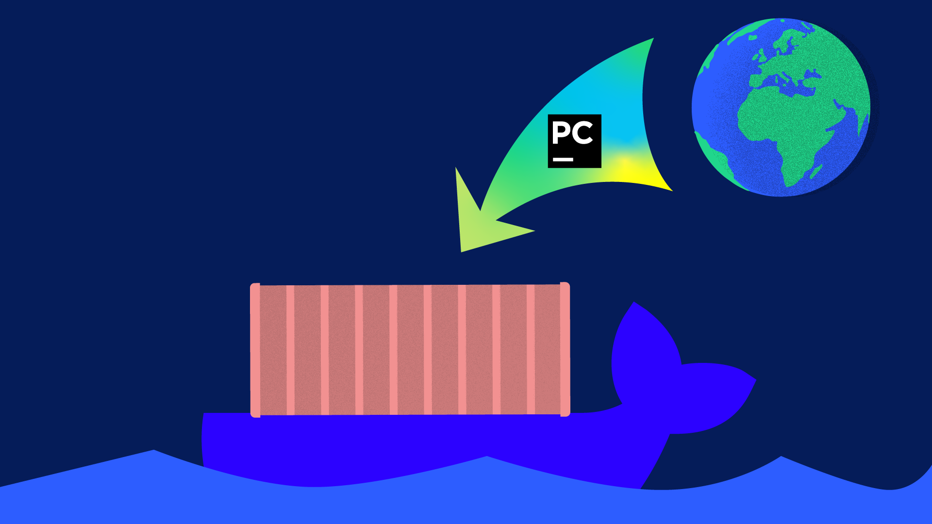 a whale transporting a docker image of a pycharm professional environment