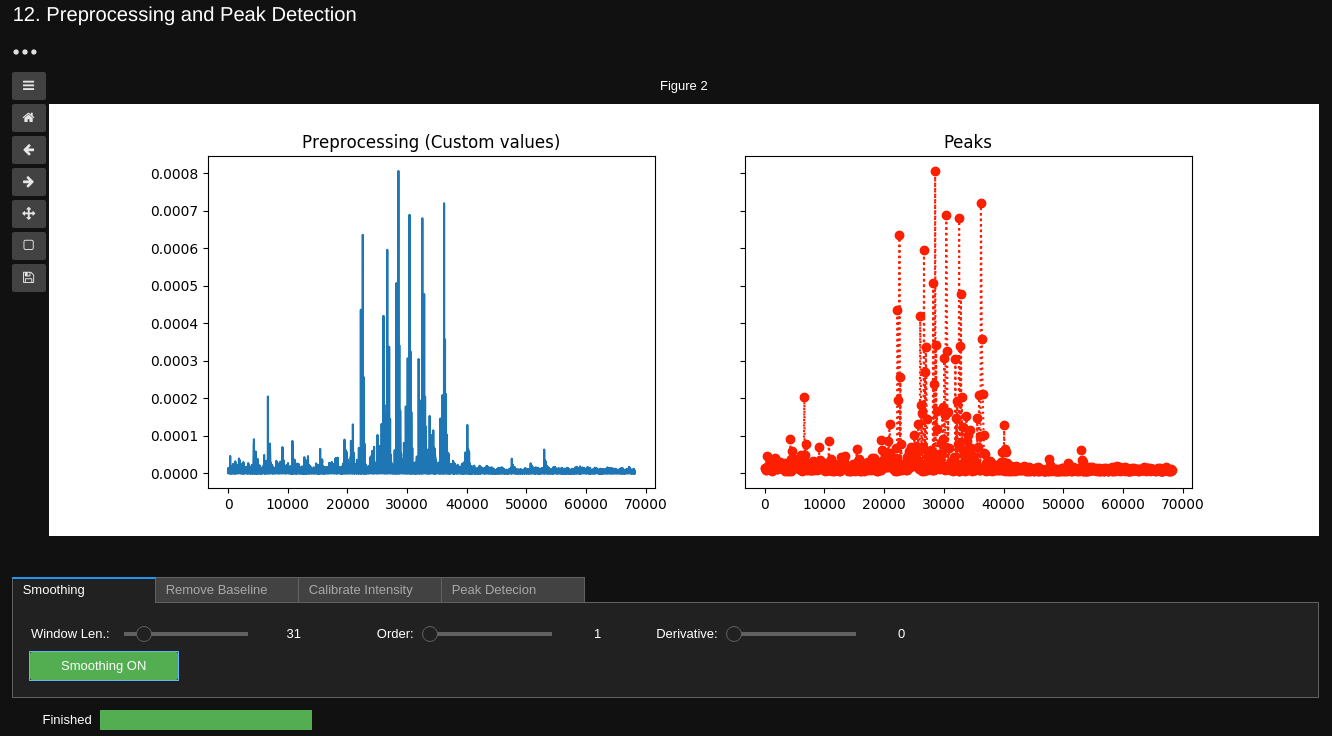 picture of an explorative analysis of a sample mass spectrum in JupyterHub