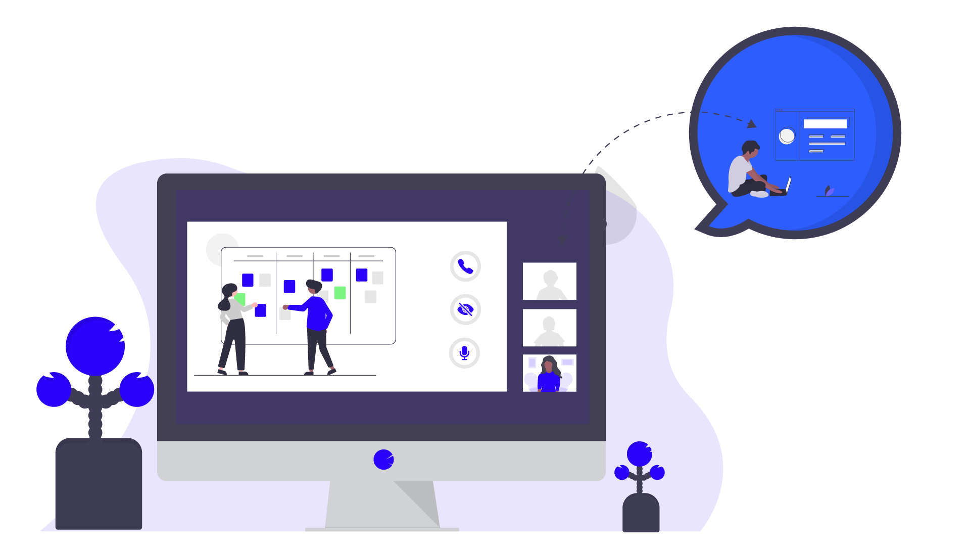 A remote project kick-off in a video call