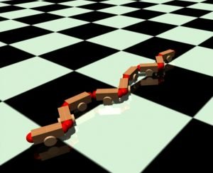 graphic element of a snake-like robot in a computer simulation