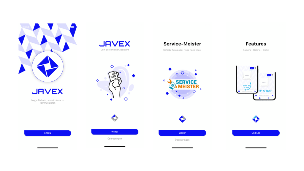 example screenshots of the Javex chatbot