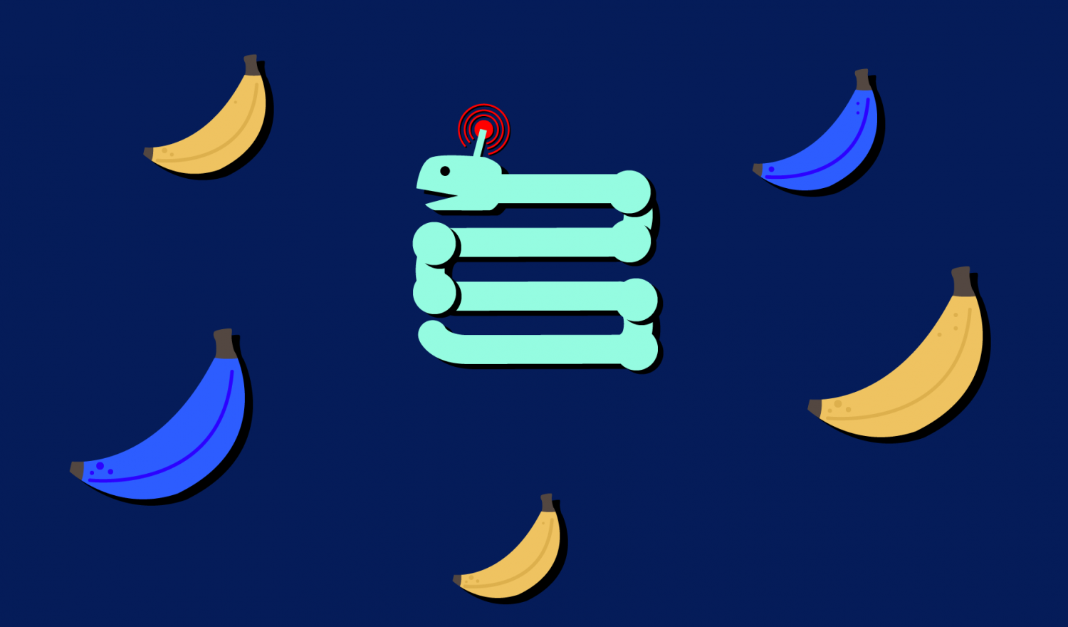 A Snake-like robot surrounded by yellow and purple bananas for inverse reinforcement learning