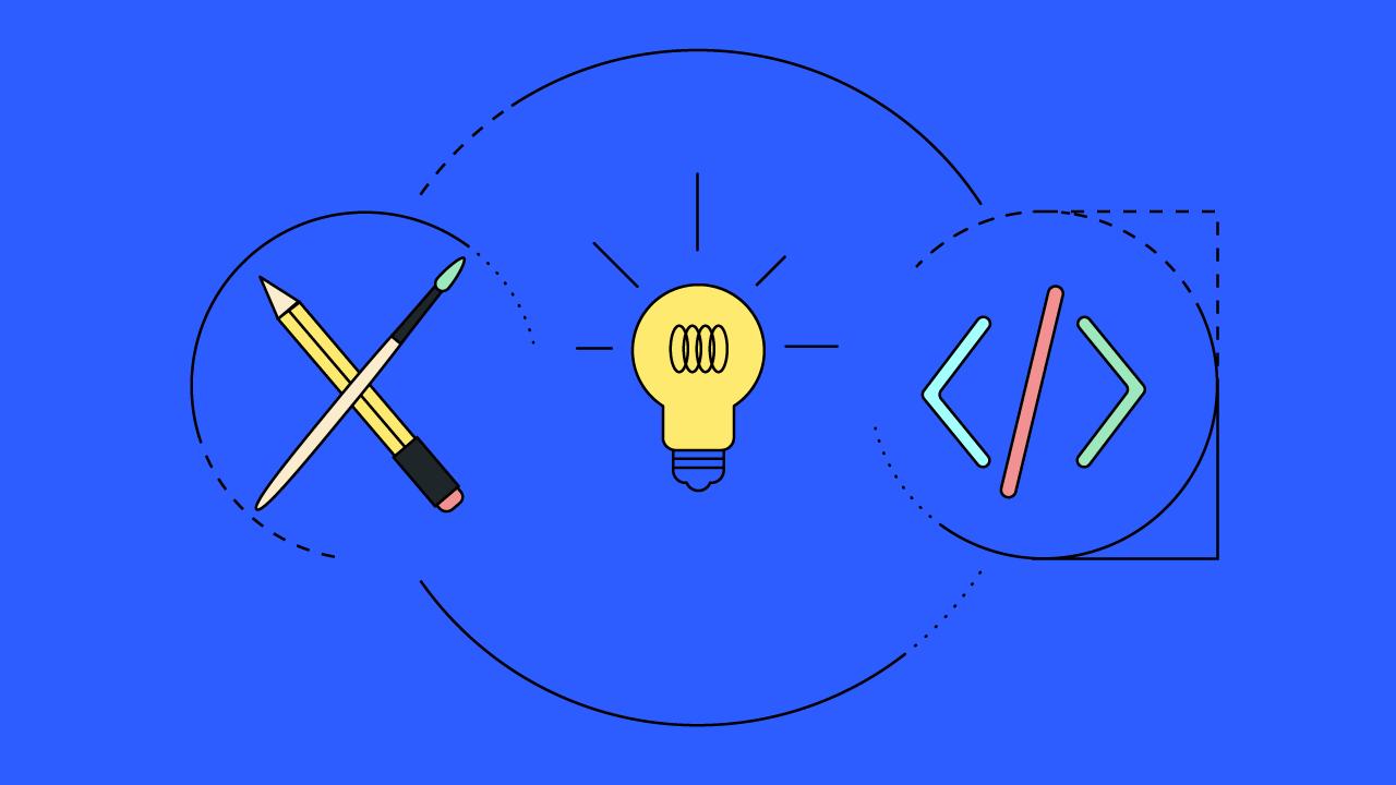 Pinsel, Bleistift, Code und eine Glühlampe stehen für Produktentwicklung