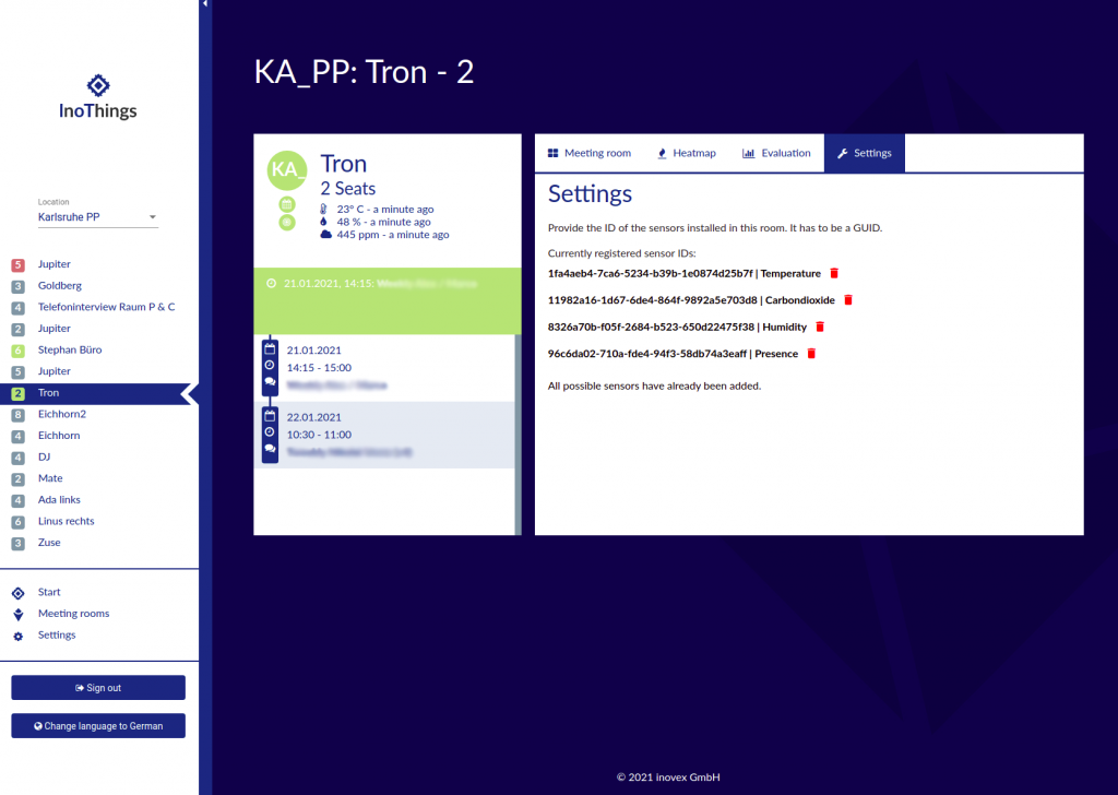 screenshot of the Angular App shows information on one of the rooms