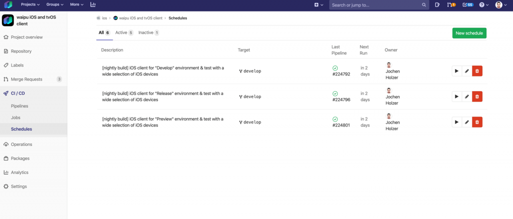 Picture: GitLab Schedules Overview