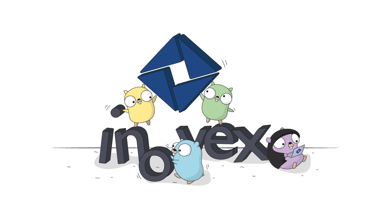 4 Go Gopher turnen über das inovex-Logo