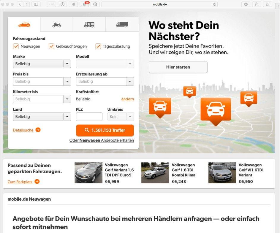 Darstellung Startseite mobile.de