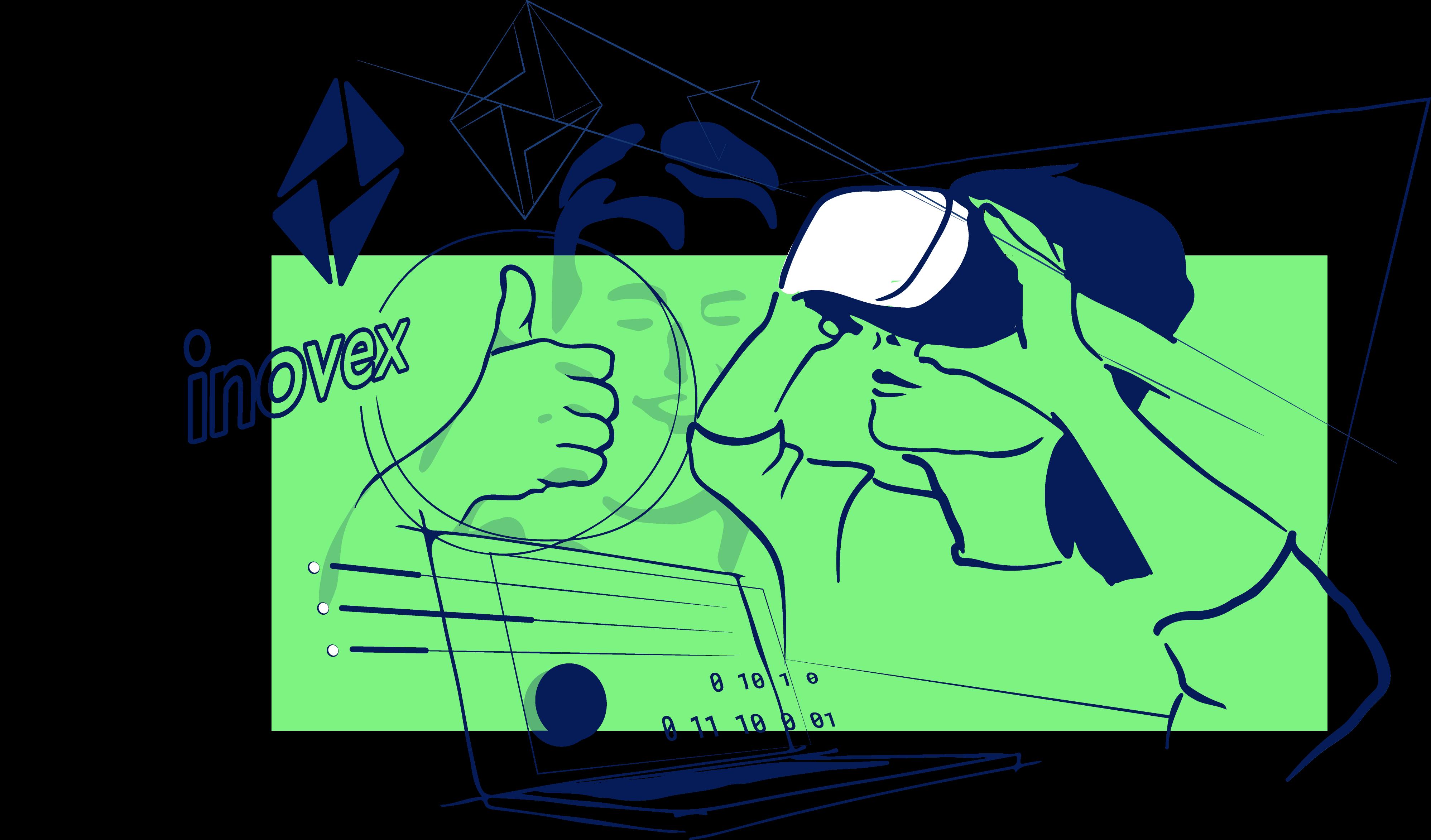 Eine Frau mit VR-Brille, ein Laptop, das inovex-Logo in einer freien Illustration der inovex Vision