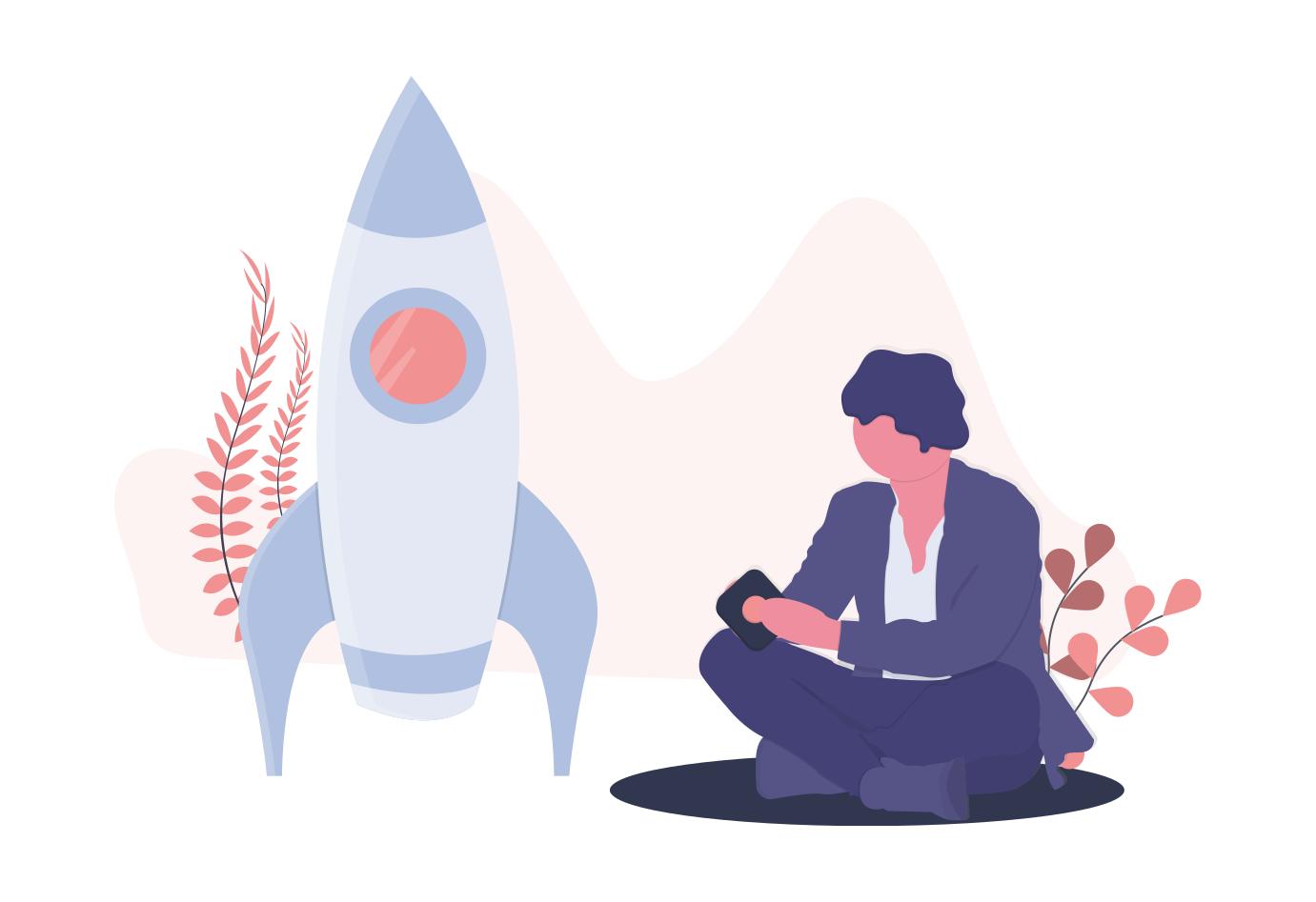 Illustration von einem Menschen, der neben einer Rakete sitzt.