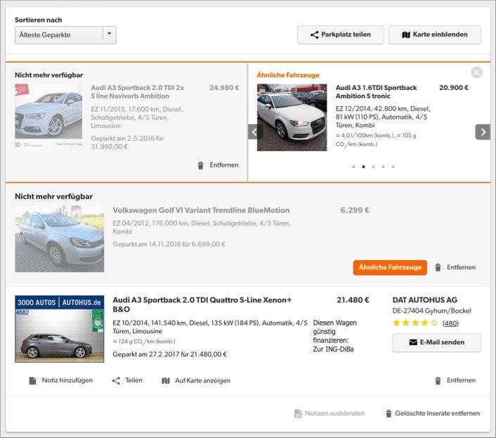 Darstellung des Empfehlungsfeatures auf mobile.de