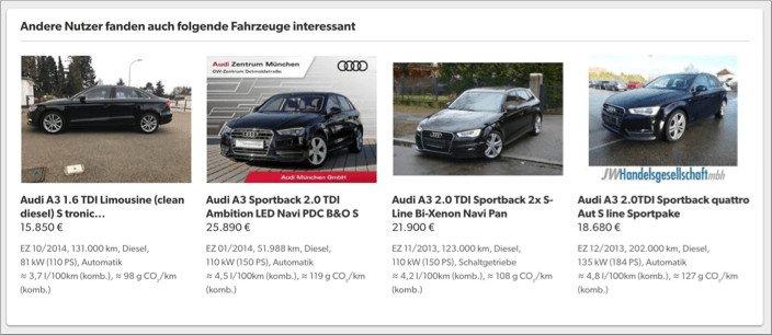 Darstellung des Parkplatz-Features auf mobile.de