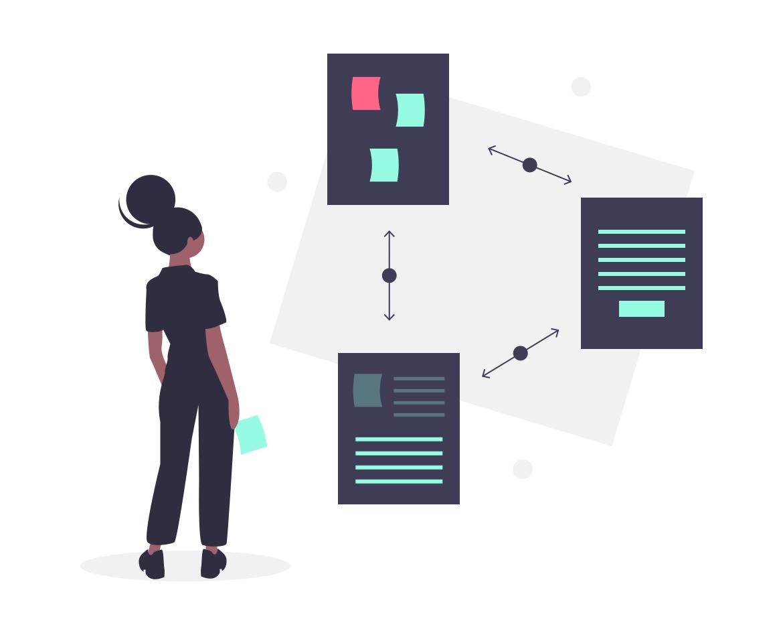 Illustration: Eine Frau betrachtet einen Workflow