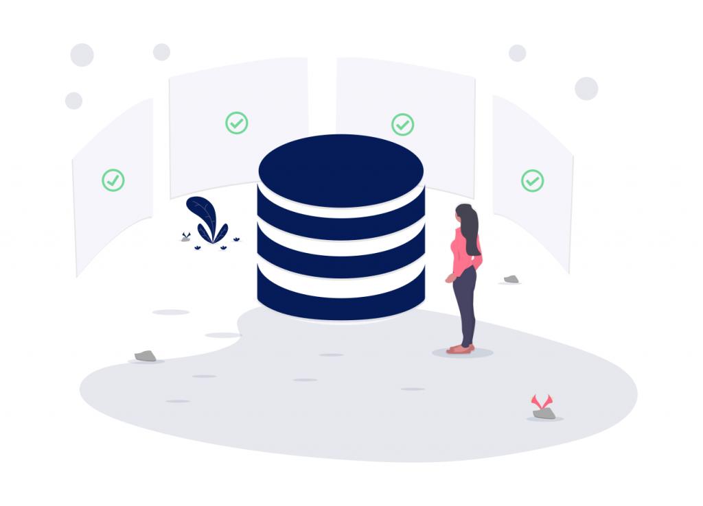 Illustration: Eine Frau vor einer Datenbank