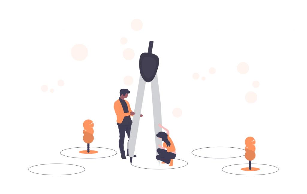 Illustration: 2 Menschen mit einem Zirkel