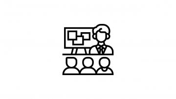 Icon mit einer Tafel, einem Lehrer und drei Schülern