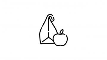 Icon mit einer Brottüte und einem Apfel