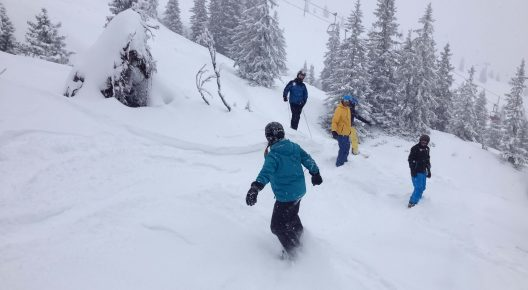 Eine Gruppe von Snowboardern fährt durch den Tiefschnee