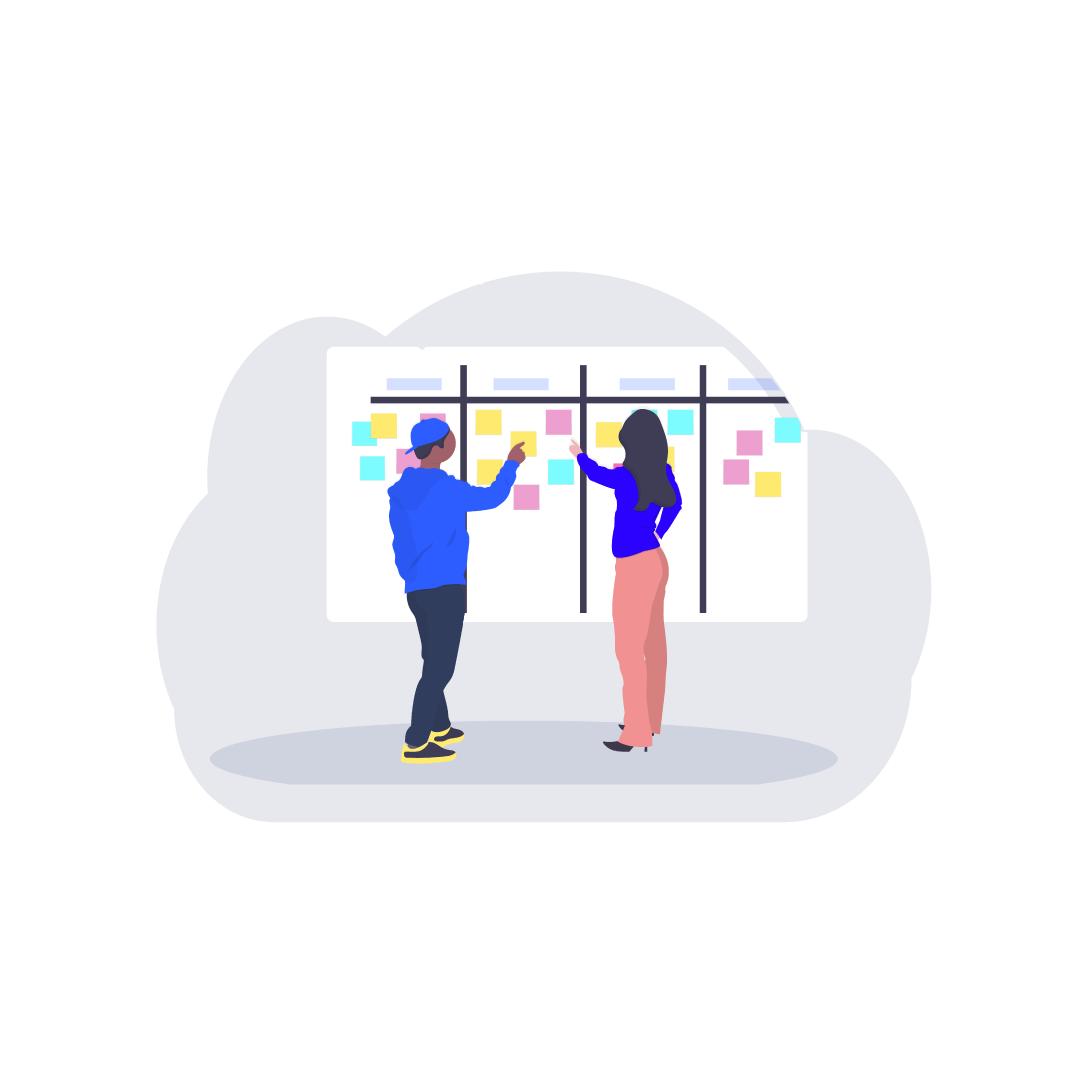 Illustration zwei Menschen am Whiteboard