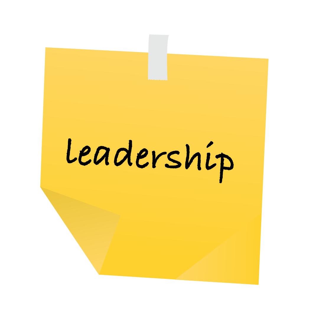 Sticky note, auf der Leadership geschrieben steht