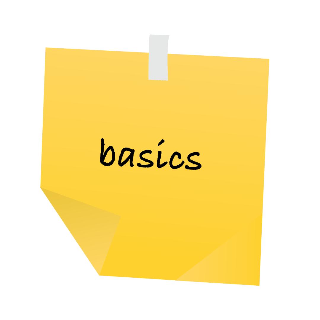 """Gelber Post it, auf dem """"basics"""" steht."""