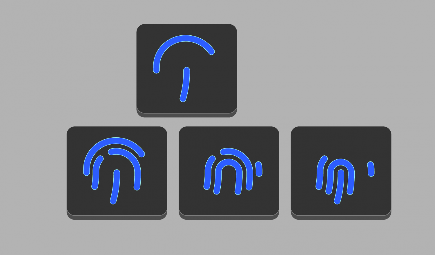 4 keyboard keys each with a fingerprint on it for continuous authentication