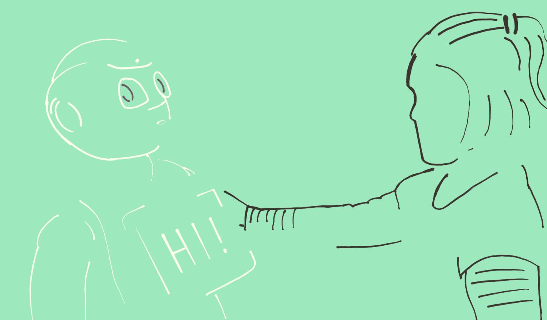 Human-Computer-Interaction ein Kind interagiert mit Pepper
