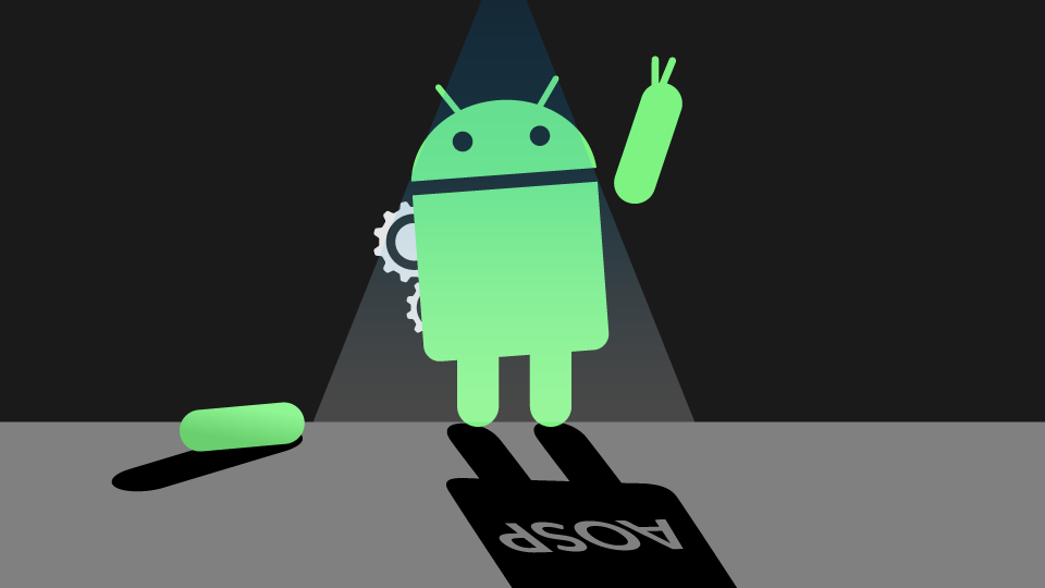 Illustration: AOSP Bugdroid in a workshop highlighted by a ceiling lamp.