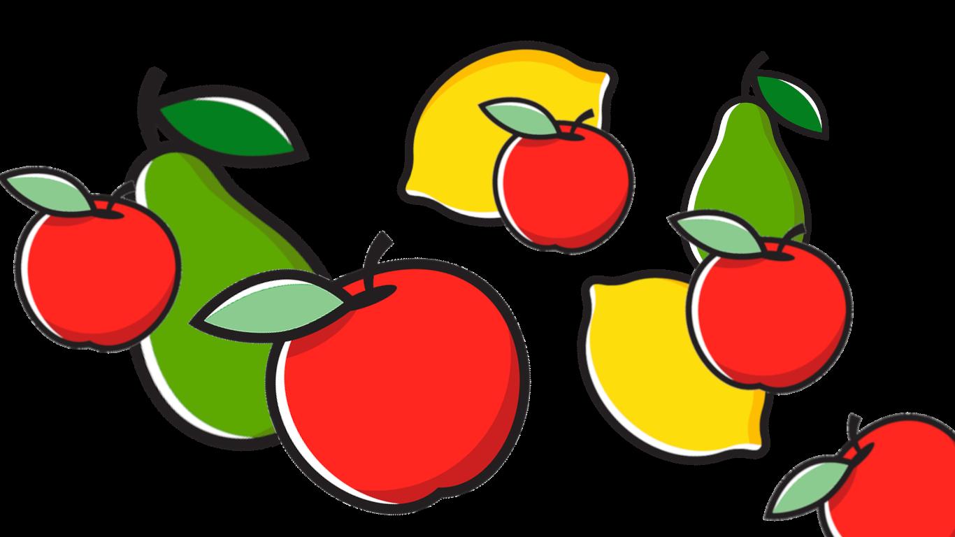 Beispielbild für eins der Obst-Rätsel für die Kinder mit comichaften Äpfeln, Birnen und Zitronen