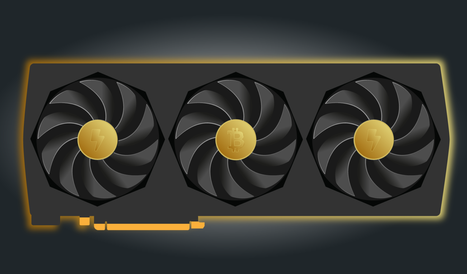 A GPU with Bitcoin and energy icons on its fans