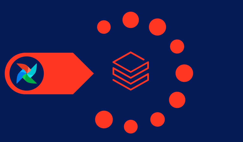 Abstract Illustration of Airflow Managing the Databricks Platform