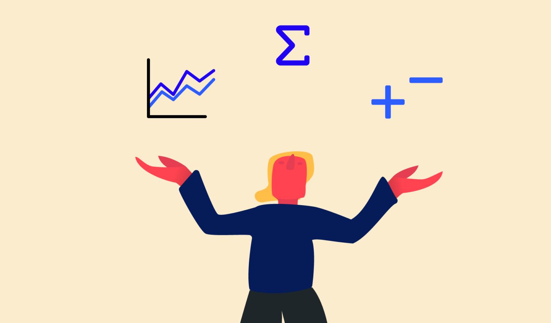 Illustration: Eine Mathematikerin jongliert mit Daten