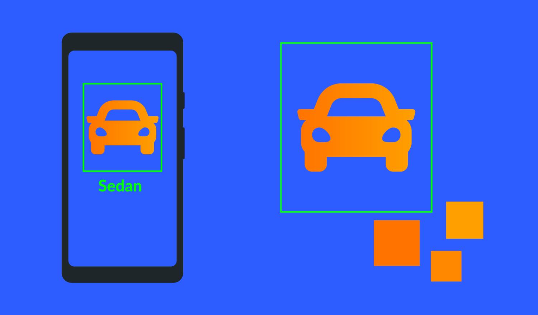 A phone identifies a car model using TensorFlow Lite